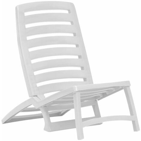 Hommoo Kids' Folding Beach Chair 4 pcs Plastic White QAH29754