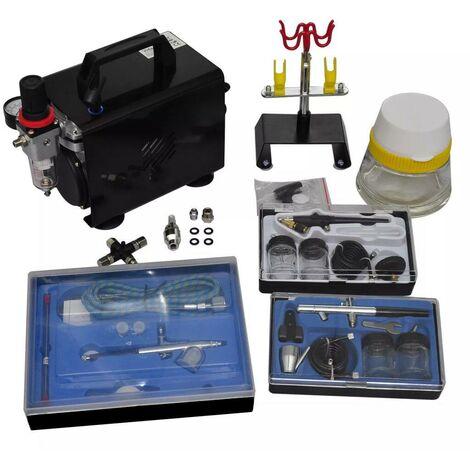 Hommoo Kit de compresseur d'aérographe avec 3 pistolets HDV03497
