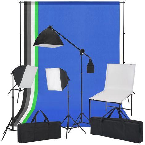Hommoo Kit de estudio fotogr¨¢fico con soporte, luces y fondos