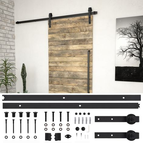 Hommoo Kit de herrajes para puertas correderas acero negro 183 cm