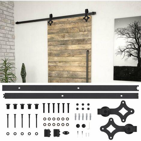 Hommoo Kit de herrajes para puertas correderas acero negro 183 cm HAXD06478