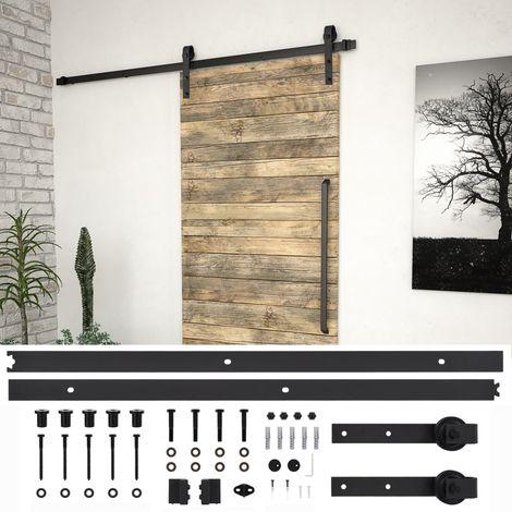 Hommoo Kit de herrajes para puertas correderas acero negro 200 cm
