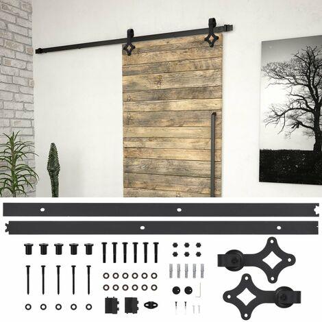 Hommoo Kit de herrajes para puertas correderas acero negro 200 cm HAXD06479