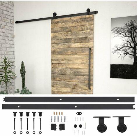 Hommoo Kit de herrajes para puertas correderas acero negro 200 cm HAXD06481