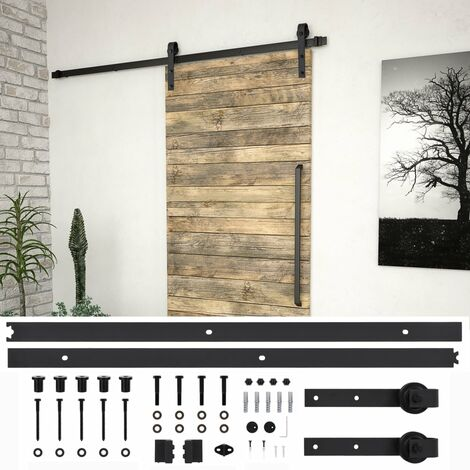 Hommoo Kit de herrajes para puertas correderas acero negro 200 cm HAXD06483