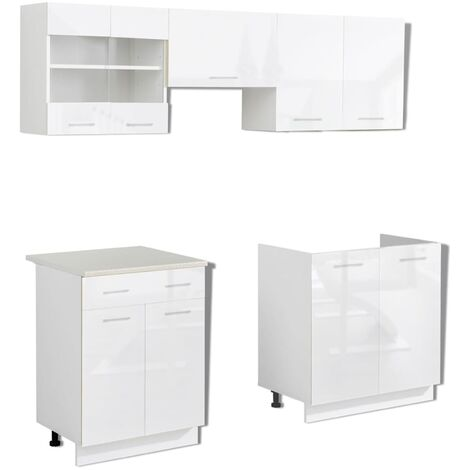 Hommoo Kitchen Cabinet Unit 5 Pieces High Gloss White 200 cm QAH08854