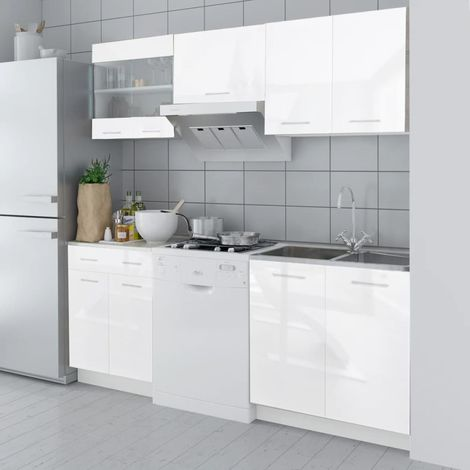 Hommoo Kitchen Cabinet Unit 5 Pieces High Gloss White 200 cm VD08854