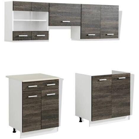 Hommoo Kitchen Cabinet Unit 5 Pieces Wenge Look QAH08732