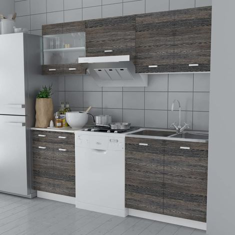 Hommoo Kitchen Cabinet Unit 5 Pieces Wenge Look VD08732