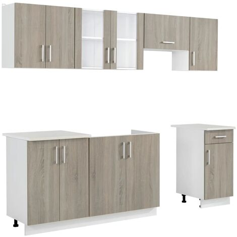 Hommoo Kitchen Cabinet Unit 7 Pieces Oak Look QAH08733