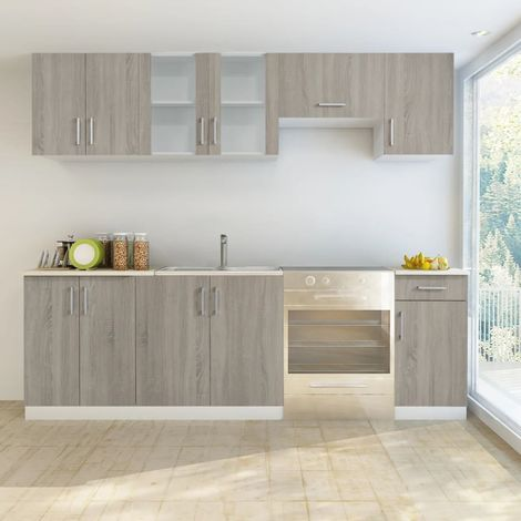 Hommoo Kitchen Cabinet Unit 7 Pieces Oak Look VD08733