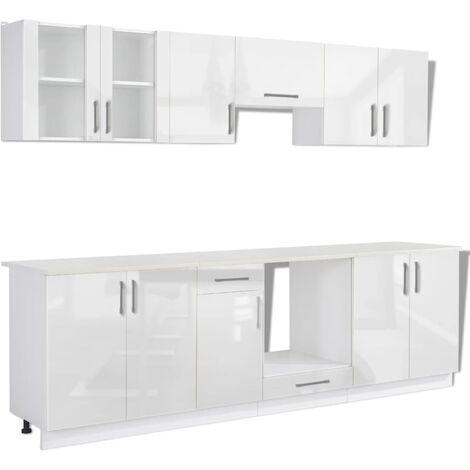 Hommoo Kitchen Cabinet Unit 8 Pieces High Gloss White 260 cm QAH08857