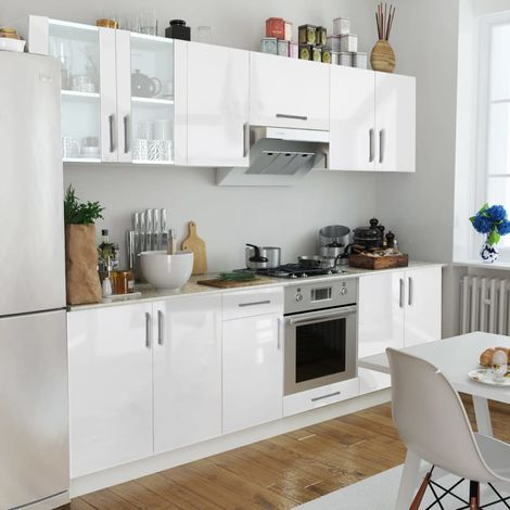 Hommoo Kitchen Cabinet Unit 8 Pieces High Gloss White 260 cm VD08857
