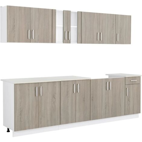 Hommoo Kitchen Cabinet with Sink Base Unit 8 Pieces Oak Look QAH08735