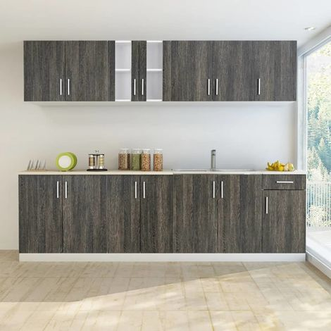Hommoo Kitchen Cabinet with Sink Base Unit 8 Pieces Wenge Look VD08736
