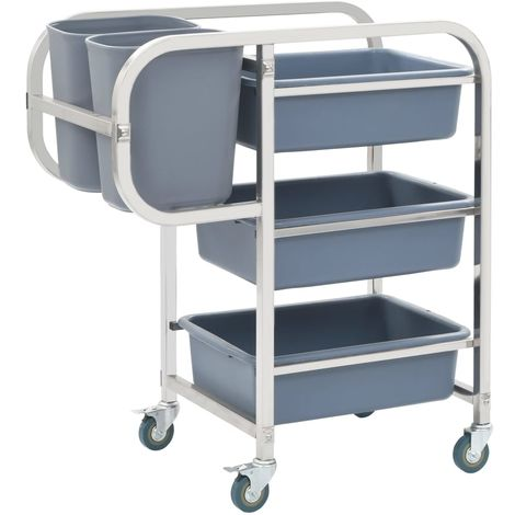 Hommoo Kitchen Cart with Plastic Containers 87x43.5x92 cm
