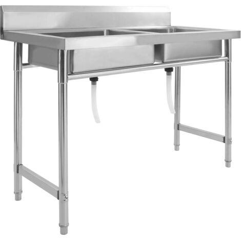 Hommoo Kitchen Sink Double Basin Stainless Steel