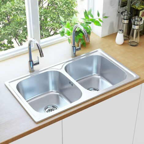 Hommoo Kitchen Sink Double Basin with Strainer & Trap Stainless Steel QAH34965