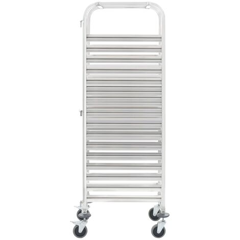 Hommoo Kitchen Trolley for 16 Trays 65.5x48.5x165 cm Stainless Steel QAH30749