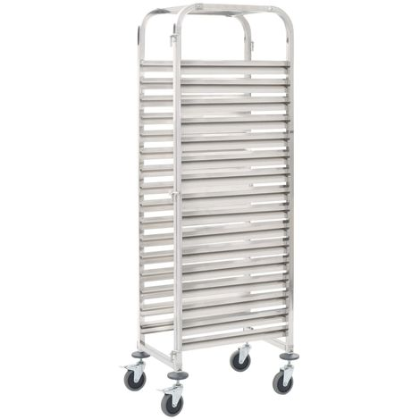 Hommoo Kitchen Trolley for 16 Trays 65.5x48.5x165 cm Stainless Steel VD30749