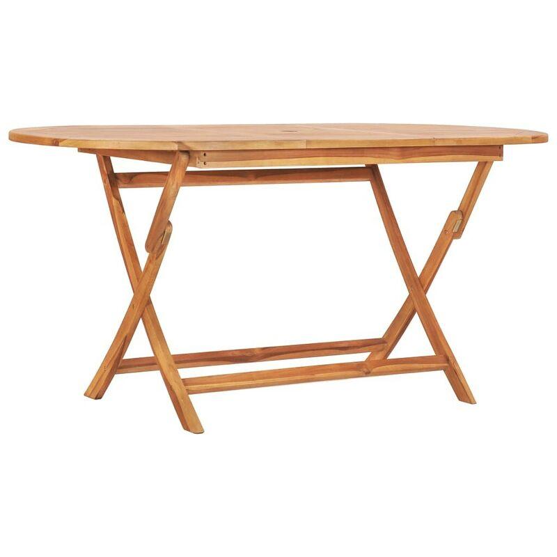 Klappbarer Gartentisch 160x80x75 cm Teak Massivholz VD46817 - Hommoo
