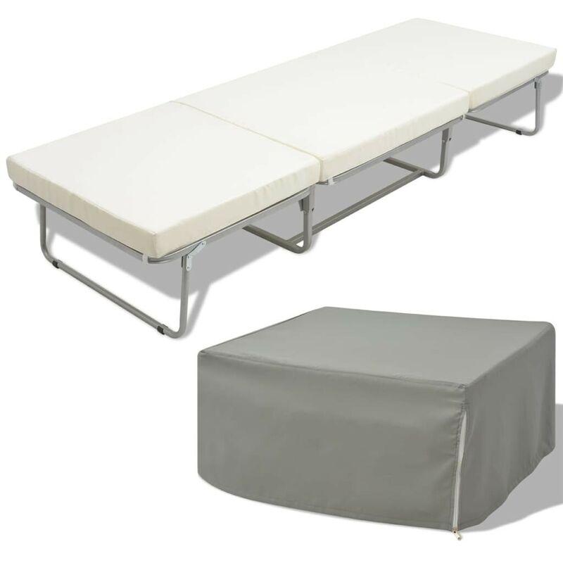 Klappbett mit Matratze Weiß Stahl 70x200 cm VD09997 - Hommoo