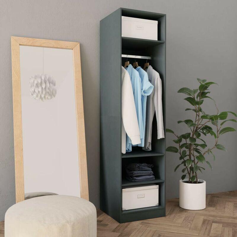 Hommoo Kleiderschrank Grau 50x50x200 cm Spanplatte VD31265