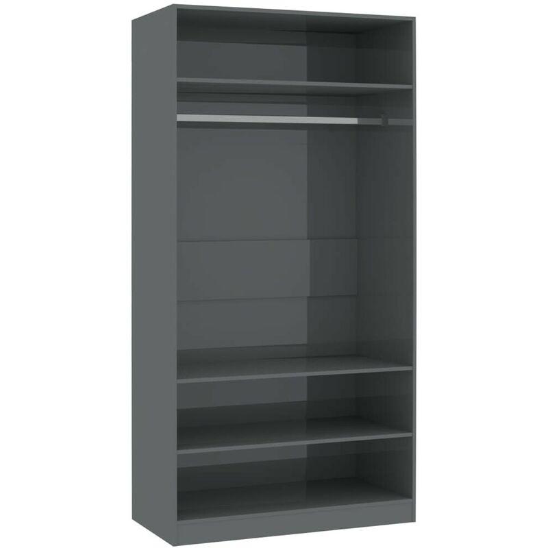 Kleiderschrank Hochglanz-Grau 100x50x200 cm Spanplatte VD31262 - Hommoo