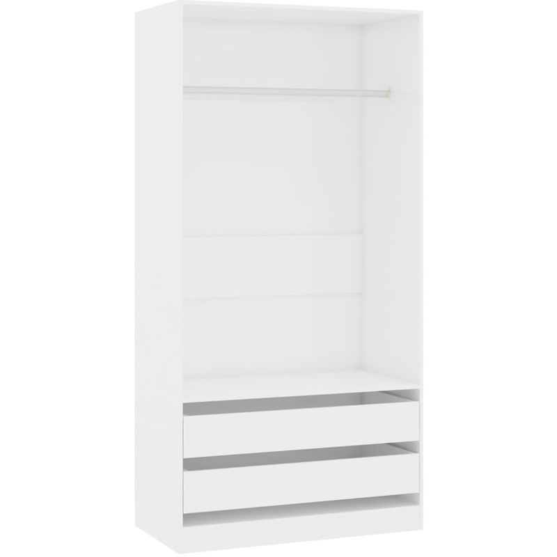 Kleiderschrank Hochglanz-Weiß 100x50x200 cm Spanplatte VD31643 - Hommoo