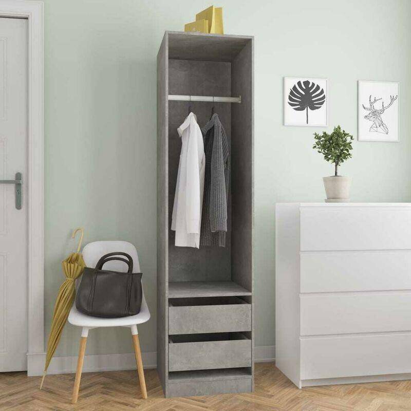 Hommoo Kleiderschrank mit Schubladen Betongrau 50x50x200 cm Spanplatte VD31650