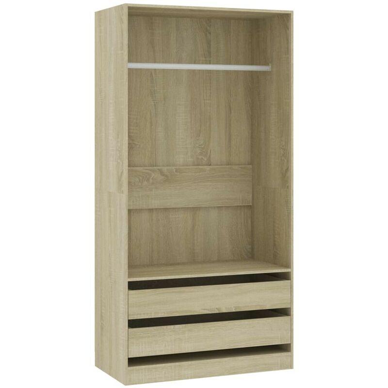 Kleiderschrank Sonoma-Eiche 100x50x200 cm Spanplatte VD31640 - Hommoo
