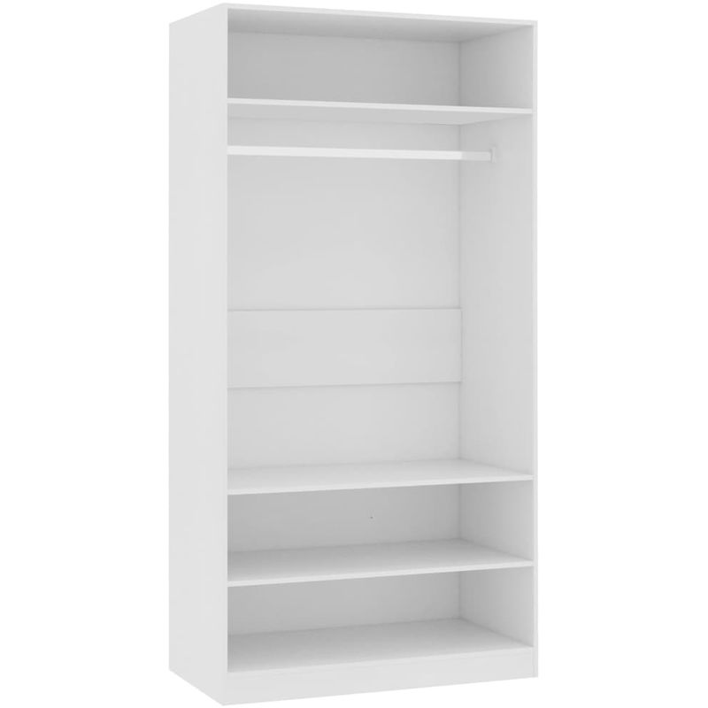 Kleiderschrank Weiß 100x50x200 cm Spanplatte VD31254 - Hommoo