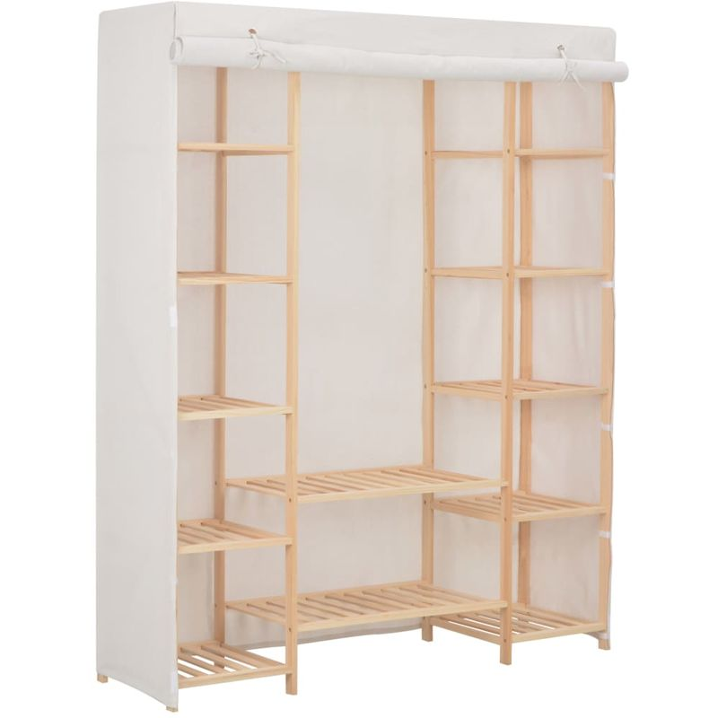 Kleiderschrank Weiß 135 x 40 x 170 cm Stoff VD14005 - Hommoo