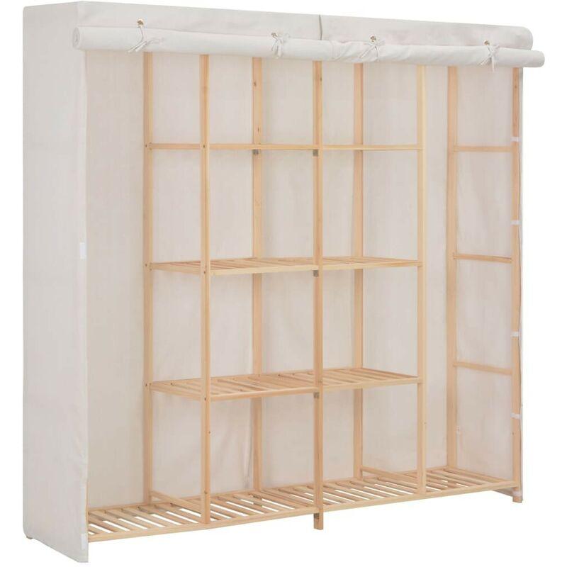 Kleiderschrank Weiß 173 x 40 x 170 cm Stoff VD14007 - Hommoo