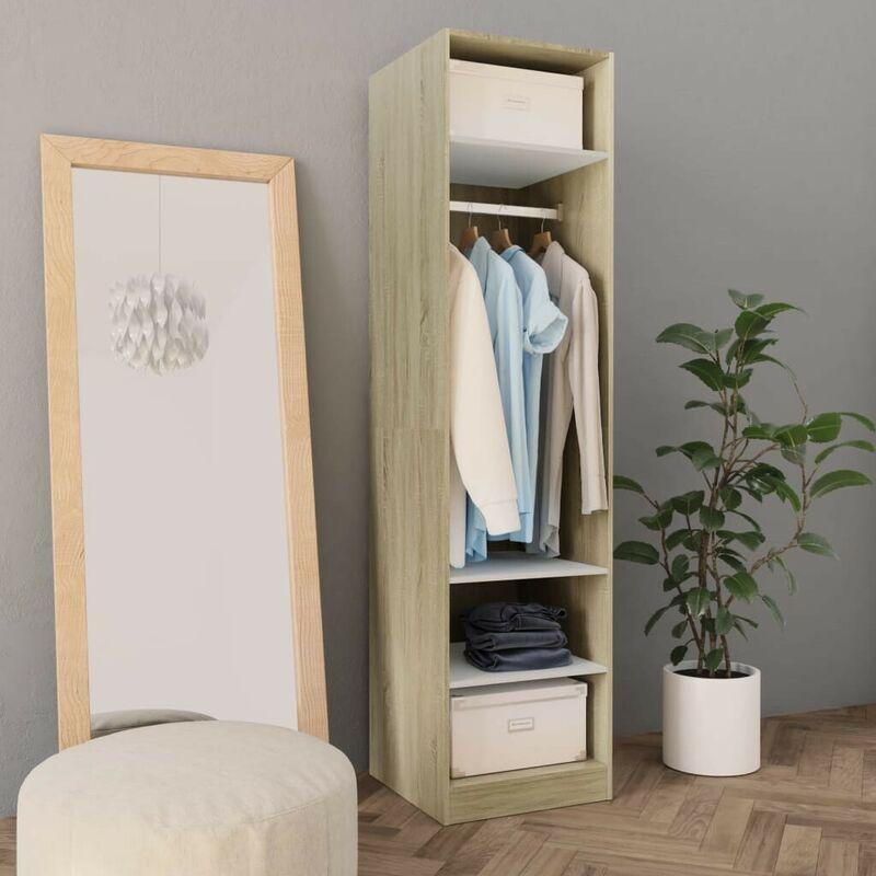 Kleiderschrank Weiß Sonoma-Eiche 50x50x200 cm Spanplatte VD31268 - Hommoo