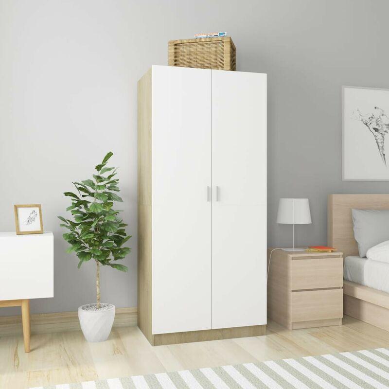 Kleiderschrank Weiß Sonoma-Eiche 80x52x180 cm Spanplatte VD31660 - Hommoo
