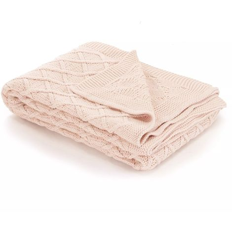 Hommoo Knitted Throw Blanket Cotton 130x171 cm Plaid Design Pink