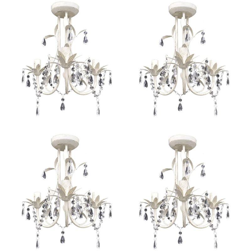 Hommoo Kristall-Deckenleuchte Kronleuchter 4 Stk. Elegantes Weiß VD21060