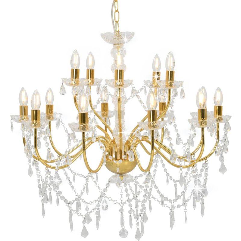 Kronleuchter 2-lagig Golden 15xE14-Glühbirnen VD23210 - Hommoo