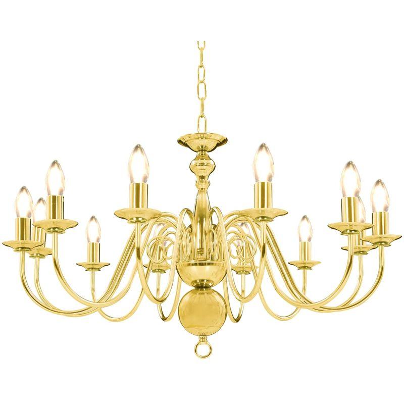 Hommoo Kronleuchter Golden 12 x E14-Glühbirnen VD23220