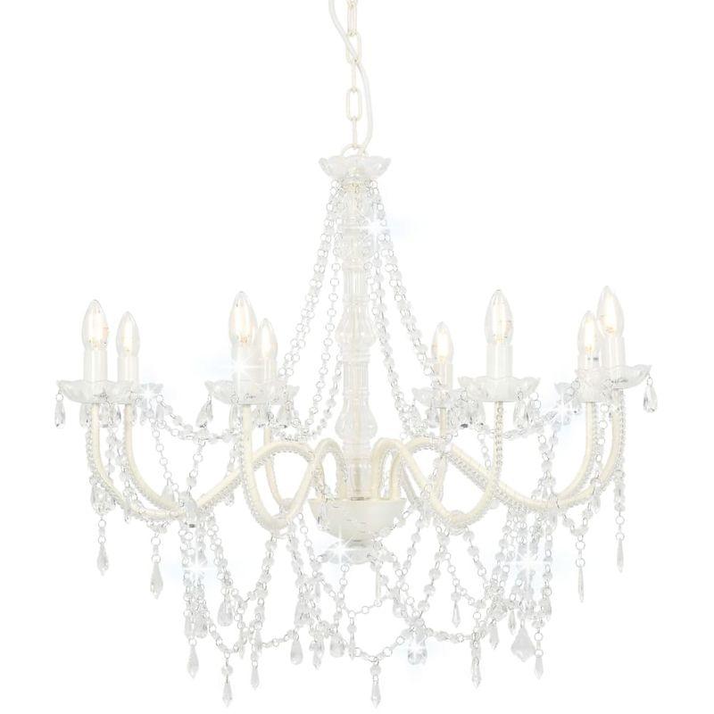 Kronleuchter mit Perlen Weiß 8 x E14-Fassungen VD23201 - Hommoo