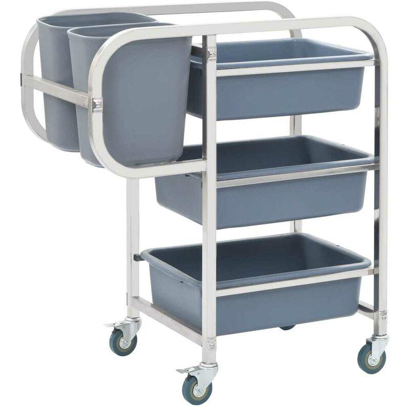 Küchenwagen mit Kunststoffbehältern 87x43,5x92 cm VD30747 - Hommoo