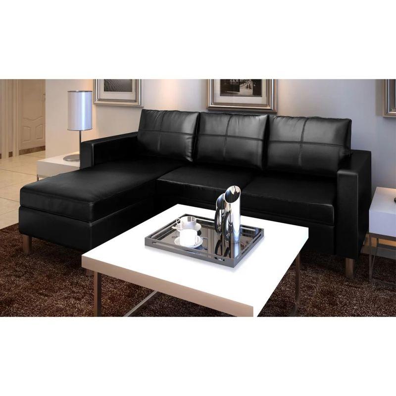 L-förmiges Sofa 3-Sitzer Kunstleder Schwarz VD08987 - Hommoo