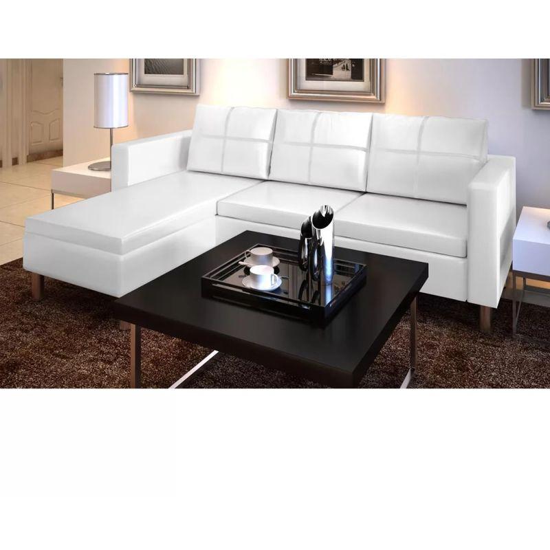 L-förmiges Sofa 3-Sitzer Kunstleder Weiß VD08988 - Hommoo