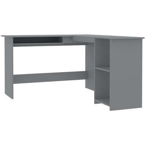 Hommoo L-Shaped Corner Desk Grey 120x140x75 cm Chipboard QAH47159