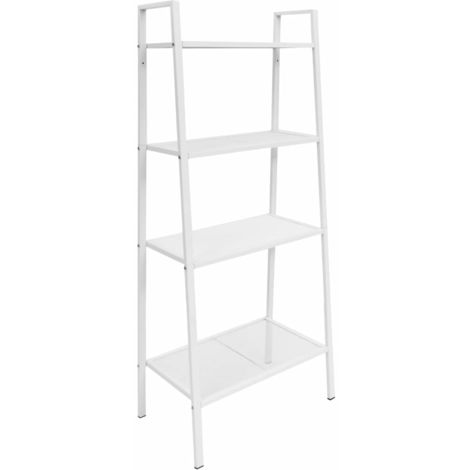 Hommoo Ladder Bookcase 4 Tiers Metal White VD11916