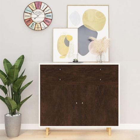 Hommoo Láminas autoadhesivas muebles 2 uds PVC roble oscuro 500x90 cm