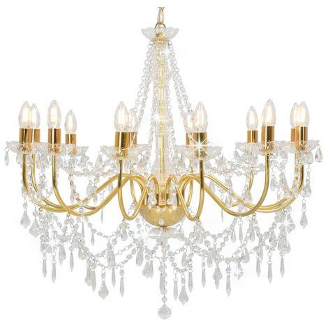 Hommoo Lámpara de araña con cuentas dorado 12 bombillas E14