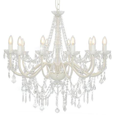 Hommoo Lámpara de araña con cuentas blanco 12 bombillas E14