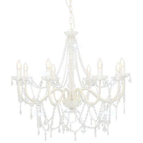 Hommoo Lámpara de araña con cuentas blanco 8 bombillas E14